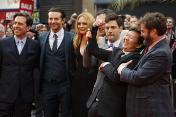 The cast of the film The Hangover Part III pose during the European premiere at the Empire Cinema in central London