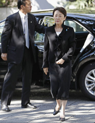 Japan's Minister-in-Charge of the Abduction Issue and head of the National Public Safety Commission Yamatani arrives the Yasukuni Shrine in Tokyo