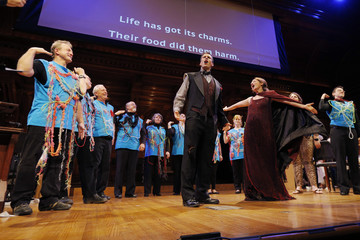 """Baritone Taylor and soprano Ferrante, along with the """"Microbe Choir,"""" perform the mini-opera """"What's Eating You"""" during the 24th First Annual Ignobel Prizes awards ceremony at Harvard University in Cambridge"""