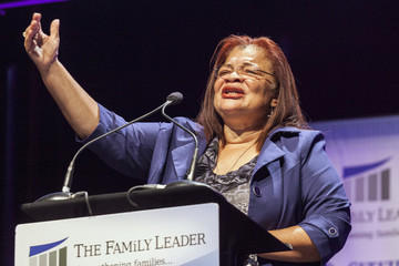 Civil rights activist Alveda King, who is Martin Luther King's niece, speaks at the Family Leadership Summit in Ames