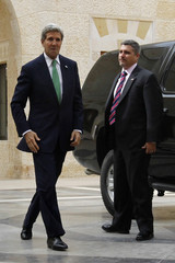 U.S. Secretary of State John Kerry arrives at the Royal Palace in Amman