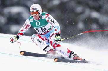 Marion Rolland of France skis during the women's Downhill training at the World Alpine Skiing Championships in Schladming