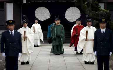 The Imperial envoys visit the Yasukuni Shrine during its Annual Spring Festival in Tokyo