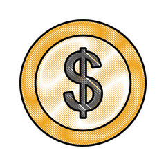 coin money dollar icon vector illustration design
