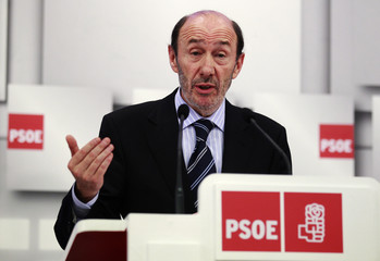 Spain's Deputy PM Rubalcaba speaks during a news conference in Madrid