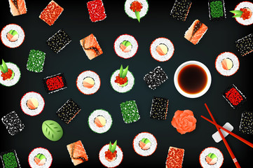 Vector Background With Set Of Different Sushi Rolls And Sauce. Promotional Template. Food Design Collection
