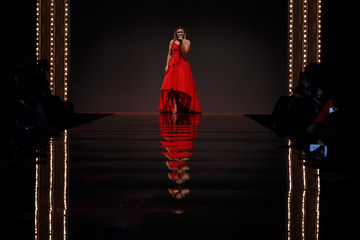 Singer Rachel Platten performs during the American Heart Association's Go Red For Women Red Dress Fall/Winter show during New York Fashion Week in the Manhattan borough of New York