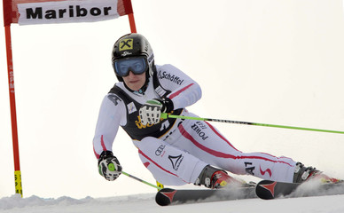 Zettel of Austria clears a gate during the first run of the World Cup Women's Giant Slalom race in Maribor