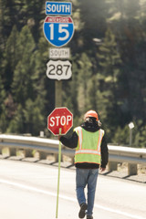 Construction Worker on Highway