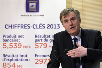 Remy Weber, Chairman of La Banque Postale's executive board, speaks during the news conference to announce the company's 2013 annual results in Paris