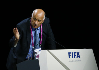 Al Rajoub, President of Palestinian Football Association, addresses the 65th FIFA Congress in Zurich