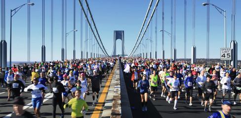 Runners cross the Verrazano-Narrows Bridge after the start of the New York City Marathon
