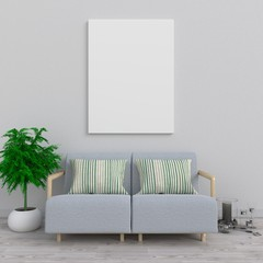 Mock up poster in living room, 3d rendering