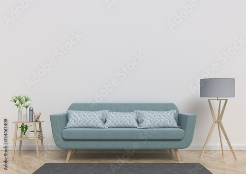 Living Room With Sofa Plants And Plaid On Empty White Wall Background 3D