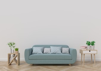 Living-room with sofa, plants and plaid on empty white wall background. 3D rendering