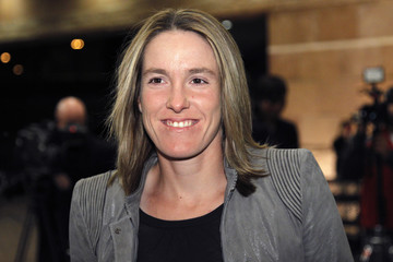WTA tennis player Justine Henin of Belgium poses as she arrives at the BNP Paribas Open players party in Indian Wells