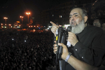 Egypt's Salafi leader and former presidential candidate Abu Ismail speaks at Tahrir Square