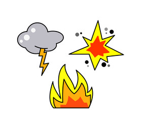 Thunder, fire and explosion icons vector