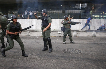 National Guards fire pellets at opposition supporters after breaking in to Voluntad Popular party headquarters in Caracas