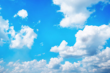 sunshine day with cloud on sky and blue sky background in the summer.