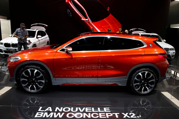 The new BMW X2 concept car is displayed on media day at the Paris auto show, in Paris