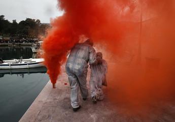 Revellers celebrate Ash Monday in Western Greece