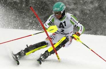Neureuther of Germany clears a gate during the men's slalom race during the FIS Alpine Skiing World Cup in Kitzbuehel