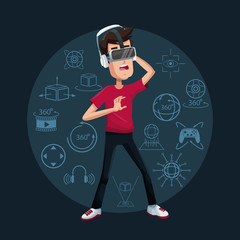 young man virtual reality wearing goggle futuristic technology vector illustration