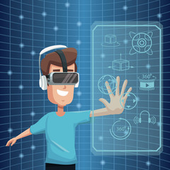 virtual reality wearing goggle 360 degree vision digital vector illustration