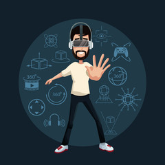 young guy interacting virtual reality wearing goggle vector illustration