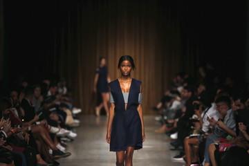 A model presents a creation by designer Carolina Machado during the Sangue Novo show at Lisbon Fashion Week