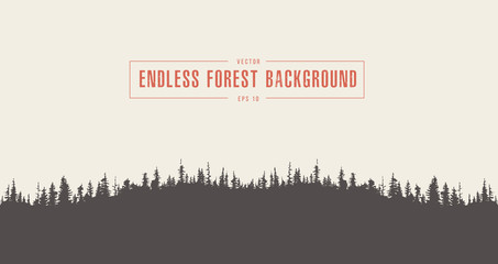 Pine forest background vector drawn sketch