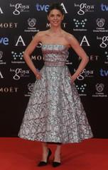 Spanish actress Manuela Velasco poses on the red carpet before the Spanish Film Academy's Goya Awards ceremony in Madrid