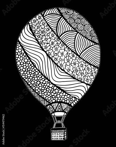 Hot Air Balloon Vector Zentangle And Doodle Hot Air Balloon