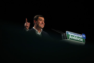 Andalusian regional PP leader and candidate for the region's elections Moreno Bonilla delivers his speech during a PP electoral campaign meeting in Torremolinos