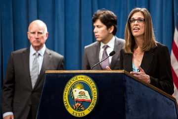 Assembly Republican leader Kristin Olsen speaks during a news conference at the State Capitol in Sacramento