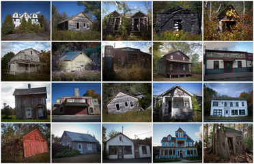 Combination photo shows abandoned businesses, houses and buildings in the Catskills region of New York