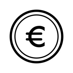 Euro vector icon. Black and white money illustration. Outline linear finance icon.