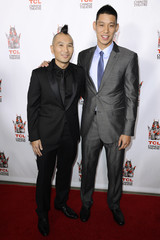 """Director Evan Jackson Leong and Jeremy Lin attend the premiere of the film """"Linsanity"""" in Los Angeles"""