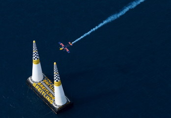 Hungary pilot Besenyei flies his Corvus Racer 540 aircraft through the course during the qualifying race at the Red Bull Air Race World Championship in Rovinj