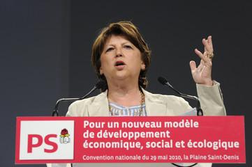 French Socialist Party First Secretary Aubry delivers a speech in La Plaine-Saint-Denis outside Paris