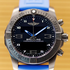 An Exospace model watch is pictured in the showroom of independent watchmaker Breitling in La Chaux-de-Fonds