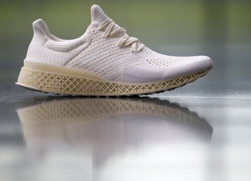 3D printed plastic sole of an Adidas shoe is pictured before news conference in Herzogenaurach