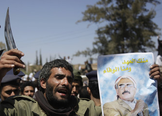 A government backer waves a dagger during a rally to show his support to President Ali Abdullah Saleh in Sanaa