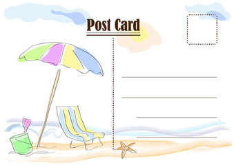 Summer postcard. Vector drawing abstract beach