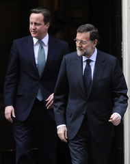 Britain's Prime Minister David Cameron and Spain's Prime Minister Mariano Rajoy leave 10  Downing Street in London