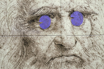 Leonado's Da Vinci picture used as part an advertisement for the Expo 2015, in downtown Milan
