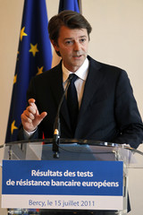 France's Finance and Economy Minister Baroin speaks on the results of stress tests on European banks during a news conference in Paris