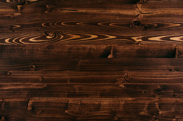 Warm brown vintage wood texture. Top view, wooden board.