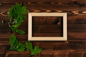 Decorative summer background of blank wood frame and young green leaves on vintage brown wooden board. Copy space, top view.